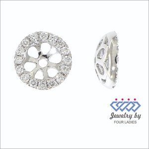 Solid Halo Diamond Stud Jacket Earrings White Gold